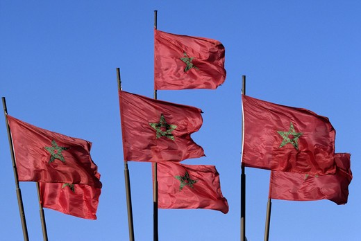 Moroccan flags, Morocco : Stock Photo