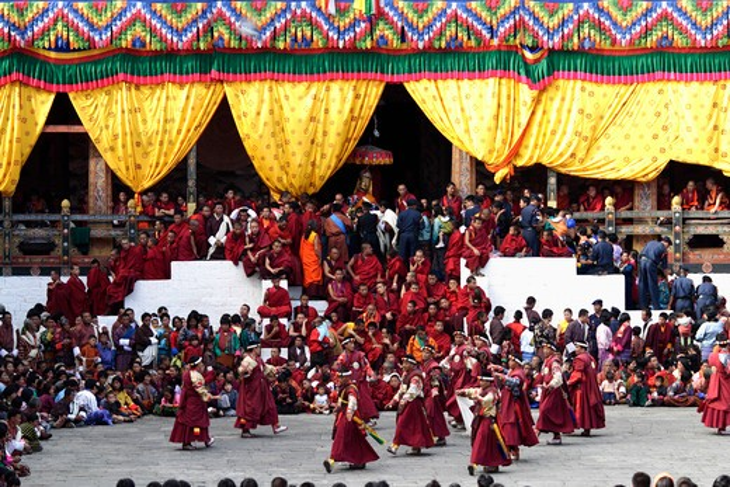 Stock Photo: 4286-86232 Monks watching the Thimphu Festival (Tsechu), Bhutan
