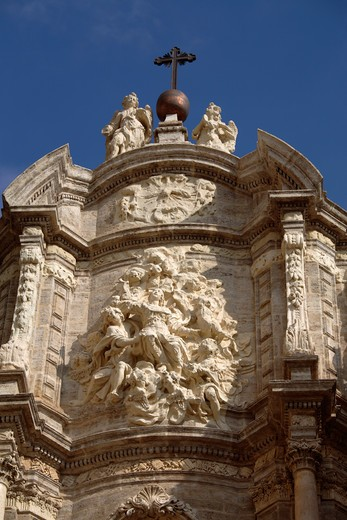 Stock Photo: 4286-86360 Detail on the entrance of Saint Mary Cathedral, Valencia, Spain