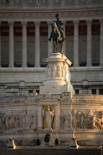 The monument of of Victor Emmanuel II at the Altar of the Fatherland, Rome, Italy : Stock Photo