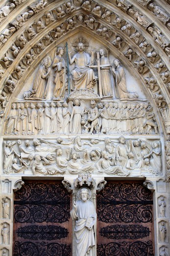 The Portal of the Last Judgement of Notre Dame, Paris, France : Stock Photo