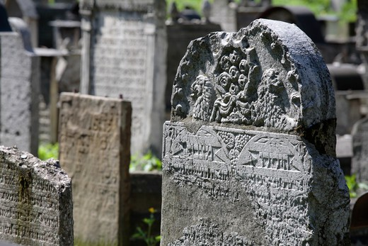 Tombstones of the ancient Remuh Jewish cemetery in Krakow, Poland : Stock Photo