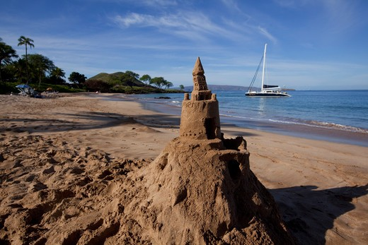 Stock Photo: 4286-87291 Sandcastle, Maluaka Beach, Makena, Maui, Hawaii