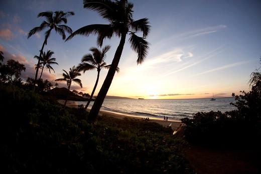 Sunset, Maluaka Beach, Makena, Maui, Hawaii : Stock Photo