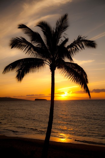 Stock Photo: 4286-87362 Sunset, Maluaka Beach, Makena, Maui, Hawaii