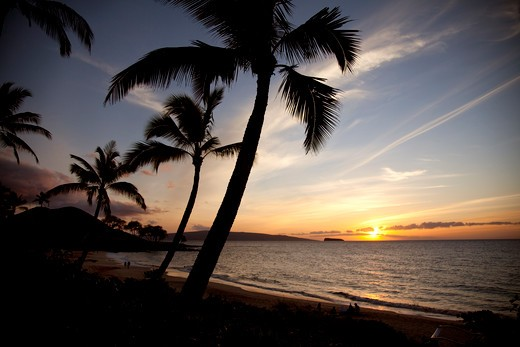 Stock Photo: 4286-87364 Sunset, Maluaka Beach, Makena, Maui, Hawaii