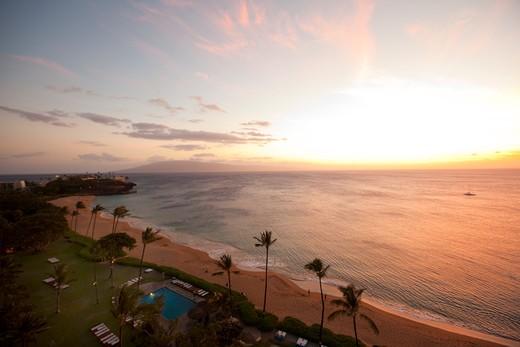 Sunset, Kaanapali Beach, Maui, Hawaii : Stock Photo