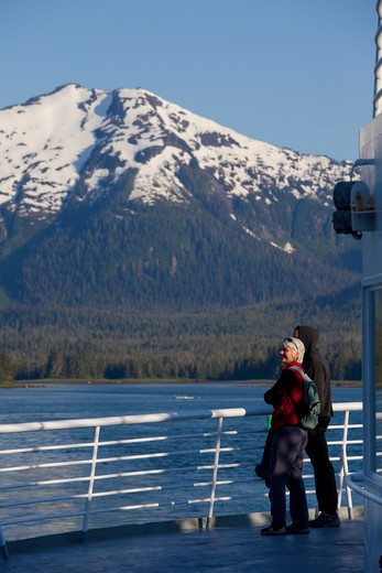 Alaska Ferry through, Wrangell Narrows, Alaska : Stock Photo