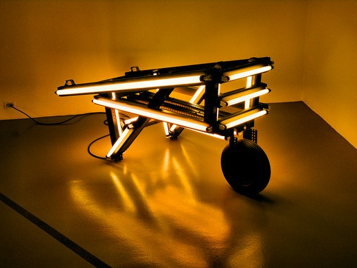 Light and Vehicular sculpture powered by orange neon, Hirshhorn Gallery, Washington, DC : Stock Photo