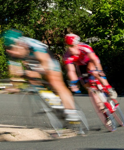 Stock Photo: 4286-89850 Male athletes competing in a bike criterion race in North Boulder Park in Boulder, Colorado