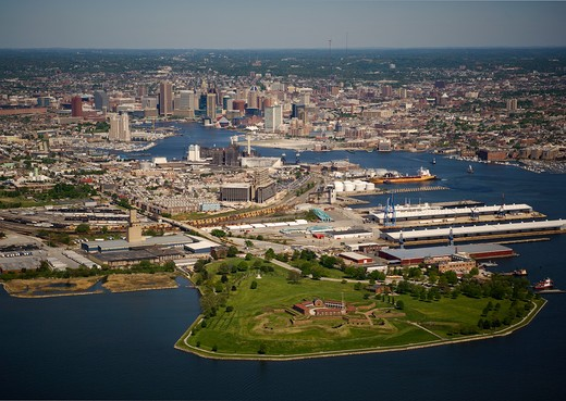 Aerial view of Ft. McHenry and the Baltimore skyline, Baltimore, MD : Stock Photo