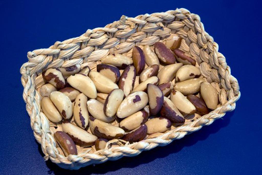Stock Photo: 4286-90128 Brazil. Rio de Janeiro. A basket of Brazillian Hazelnuts