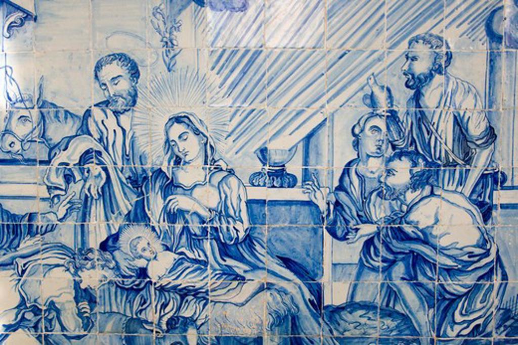 Brazil. Salvador, Bahia. Portugese tiles in the cloister of the Igreja de Bonfin Church : Stock Photo