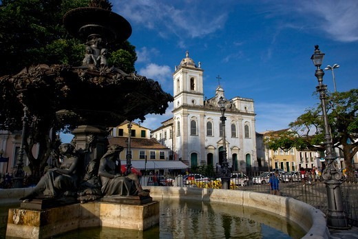 Stock Photo: 4286-90297 Brazil, Salvador, Bahia. Square XV of November, also known as ?Terreiro de Jesus? because of the Church of the Jesuits (current Cathedral Basilica) And a fountain of French origin (1855),  in cast iron, represents the Ceres goddess, of agriculture.