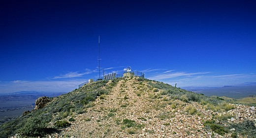 Stock Photo: 4286-90420 Energy. Solar powered communication atop mountain New Mexico USA.