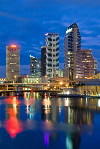 Stock Photo: 4286-90505 Tampa, Florida, skyline reflects in Tampa Bay at dusk