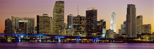 Stock Photo: 4286-90871 Miami, Florida, skyline at dusk over Biscayne Bay