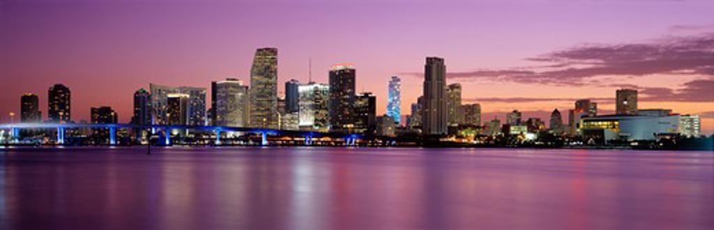 Miami, Florida, skyline at dusk over Biscayne Bay : Stock Photo