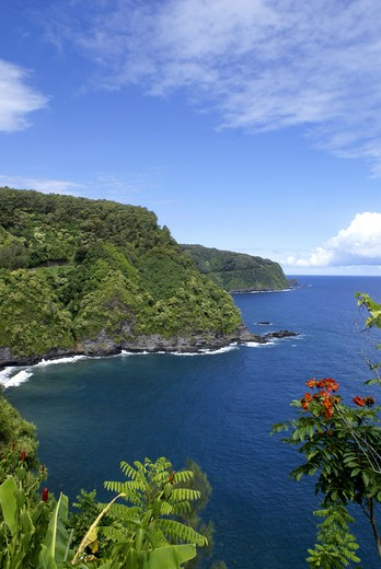 On the scenic Hawaiian road to Hana from Pa'ia, Maui : Stock Photo