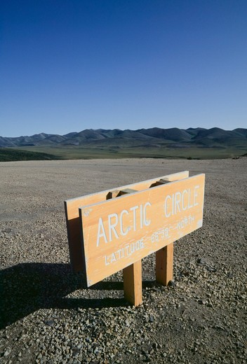 Stock Photo: 4286R-10454 Yukon Canada Arctic Circle Marker Richardson Mountains  -