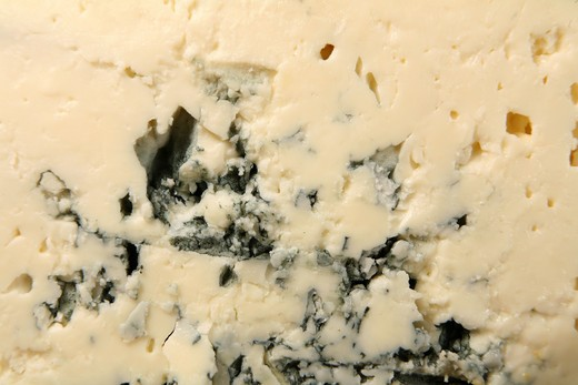 Stock Photo: 4286R-1198 Macro of the texture of Danish Blue cheese.