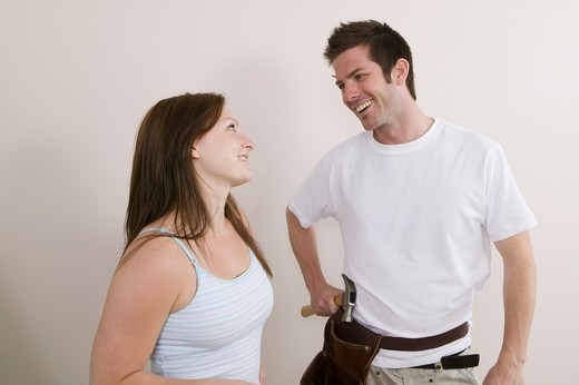 Stock Photo: 4286R-12232 Couple With Home Improvement Supplies