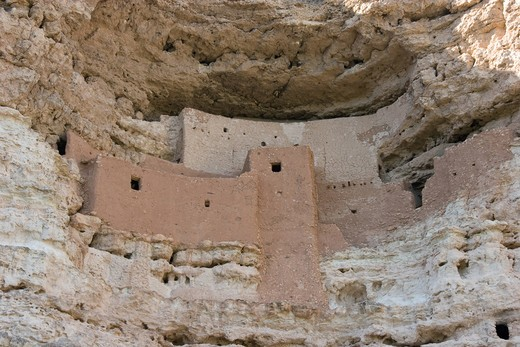 Stock Photo: 4286R-13010 Montezuma Castle National Monument, ancient cliff dwellings made from stone and adobe, near Camp Verde, Arizona, USA.