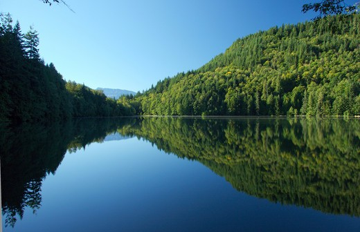 Crystal clear reflection at Alice Lake, near Squamish BC, Canada : Stock Photo