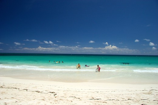 Kids enjoying the  sun at sand at Sun Bay, Vieques Island, Puerto Rico : Stock Photo