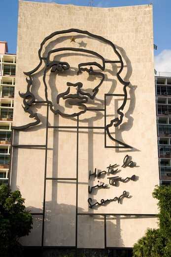 Stock Photo: 4286R-13230 Mural of Che Guevara on the exterior of the Ministry of the Interior building in Havana Cuba