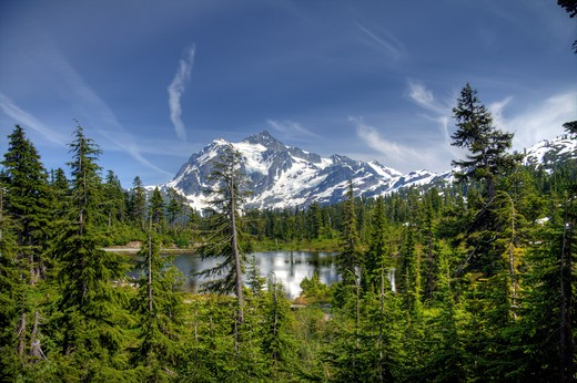 Stock Photo: 4286R-13459 Mount Shuksan, a majestic peak in the Mount Baker Wilderness, WA