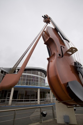 Stock Photo: 4286R-13953 The huge Ceilidh Fiddle welcomes visitors to Sydney, Cape Breton, Nova Scotia, Canada