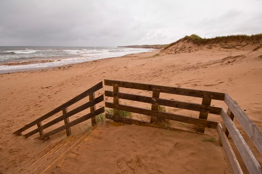 Stock Photo: 4286R-14049 Cavendish Dunes Trail beach access, Prince Edward Island National Park, on the north shore of Prince Edward Island, Canada