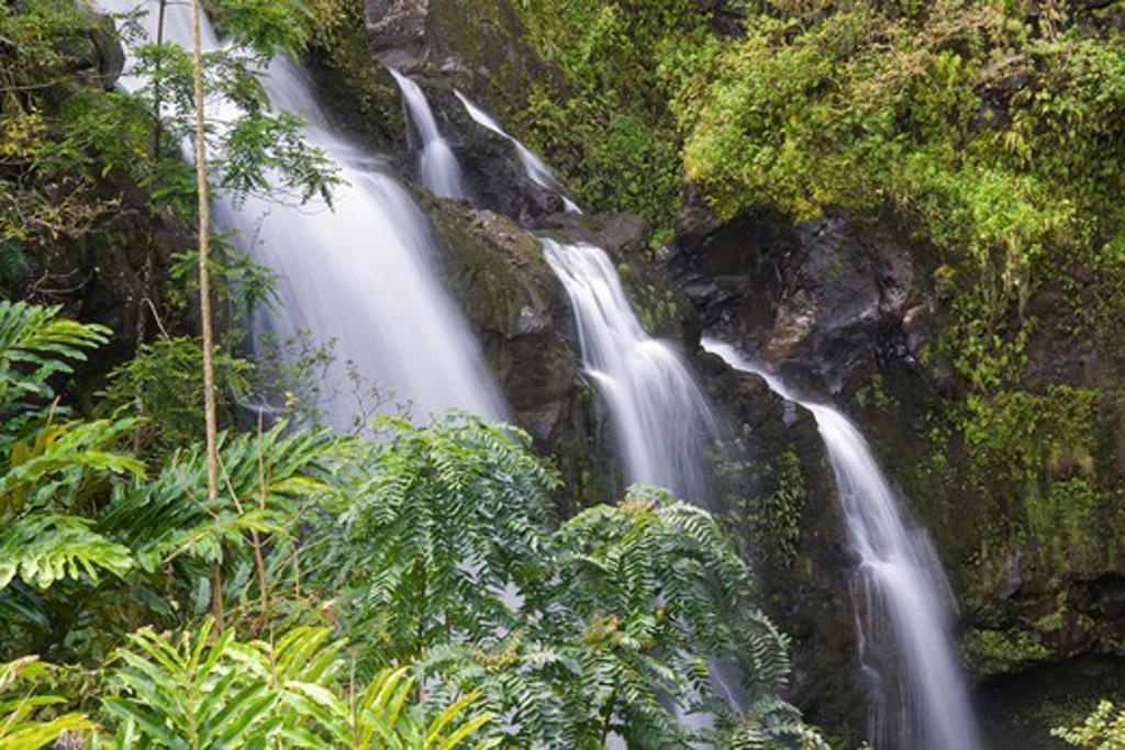 Stock Photo: 4286R-14218 Waikani Falls, also known as the Three Bears on the road to Hana, Maui, Hawaii