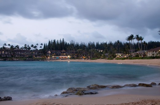 Stock Photo: 4286R-14233 Clear Blue waters of Napili Bay at dusk, Maui, Hawaii