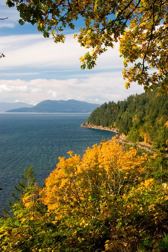 Stock Photo: 4286R-14241 Scenic View along Chuckanut Drive, near Bellingham in Northwestern Washington State