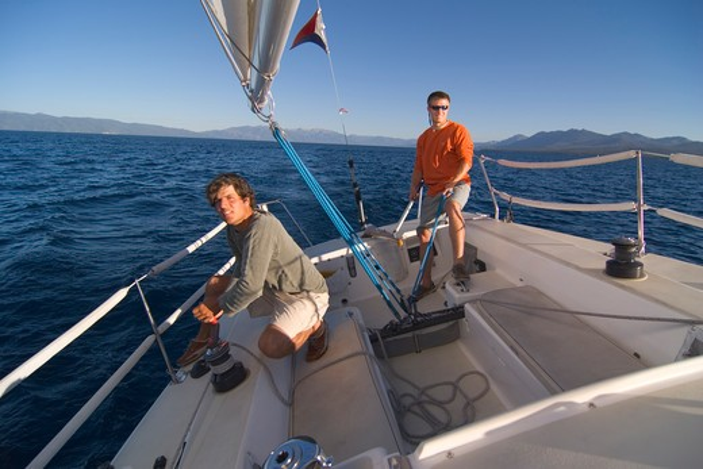 Stock Photo: 4286R-14790 Two Men Sailing on Lake Tahoe