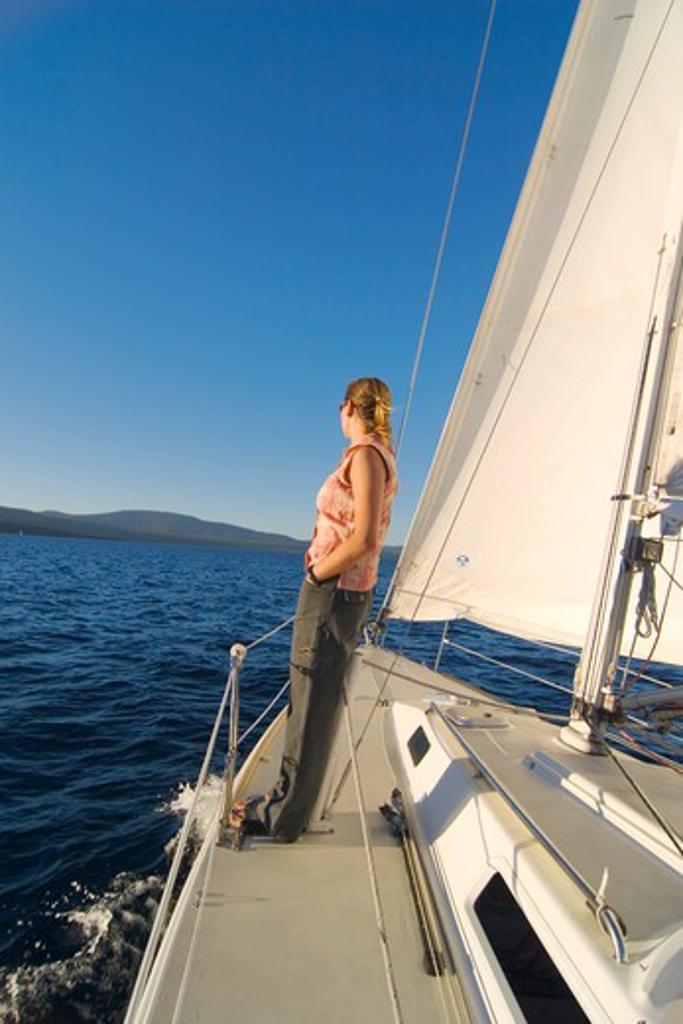 A Woman Sailing on Lake Tahoe : Stock Photo