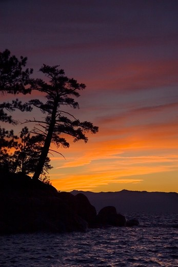 Stock Photo: 4286R-15157 Sunset over Lake Tahoe California