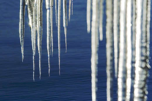 Icicles on Lake Tahoe in California at sunrise. : Stock Photo