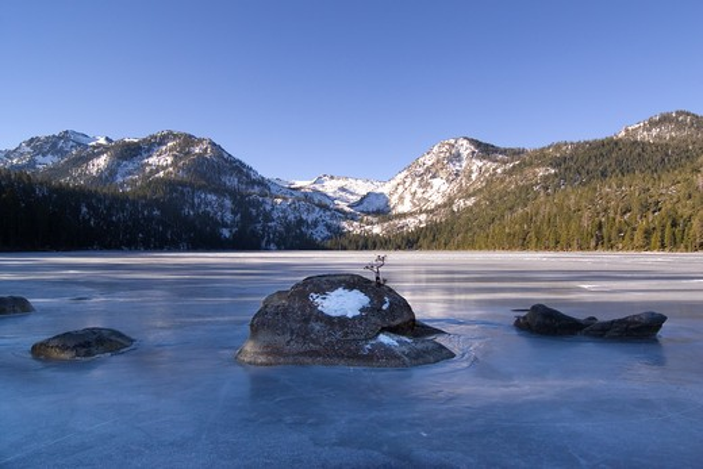Stock Photo: 4286R-15414 Frozen Cascade Lake near Lake Tahoe California