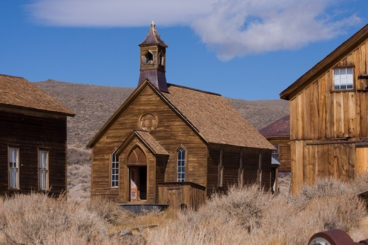 Stock Photo: 4286R-15711 An old church  in Bodie State Park in California