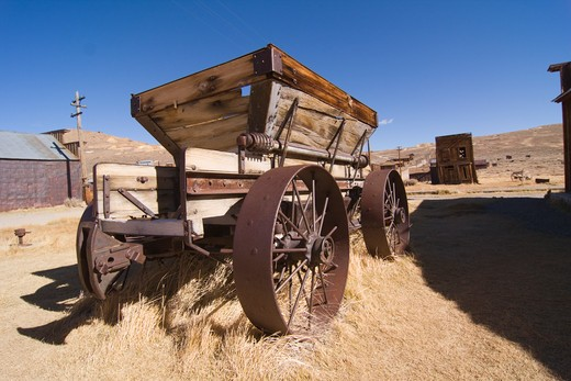 Stock Photo: 4286R-15739 An old wagon in Bodie State Park in California