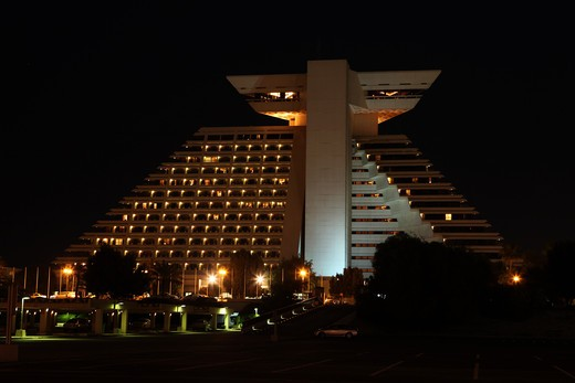 The Doha Sheraton Hotel and Resort, one of the longest-established luxury hotels in the Qatari capital. : Stock Photo