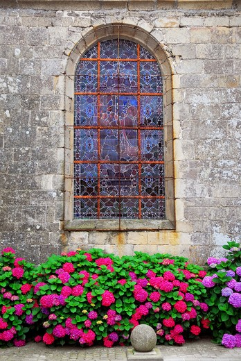 Stock Photo: 4286R-2488 Stained glass church window on Carnac, Brittany, France.