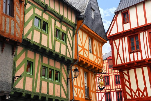 Stock Photo: 4286R-2497 Colorful medieval houses in Vannes, Brittany, France