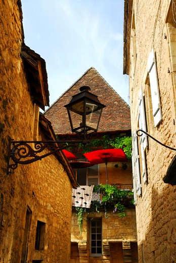 Stock Photo: 4286R-2731 Details of medieval architecture in historical town of Sarlat, France