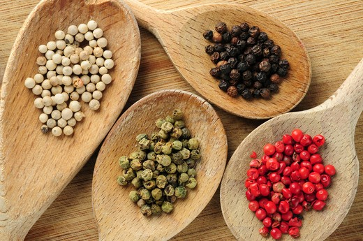 Stock Photo: 4286R-2910 Four kinds of peppercorns in wooden cooking spoons