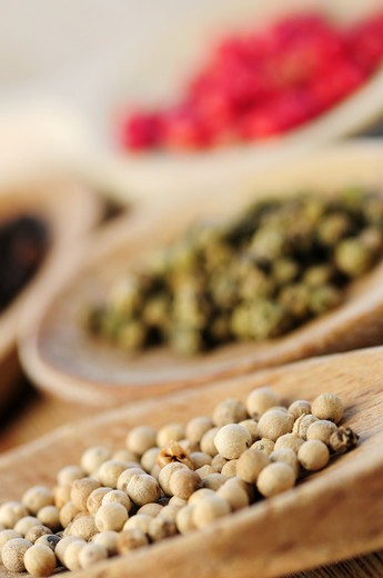 Stock Photo: 4286R-2916 Assorted peppercorns in wooden cooking spoons macro