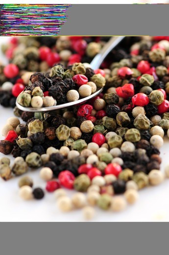 Stock Photo: 4286R-2919 Mixed assorted peppercorns on white background macro